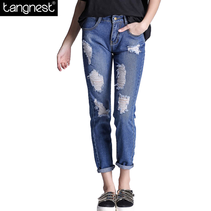 TANGNEST Boyfriend Plus Size Slim Ripped Jeans 2017 Women Ankle Length Denim Pants Vintage Straight Frayed Trousers WKN475