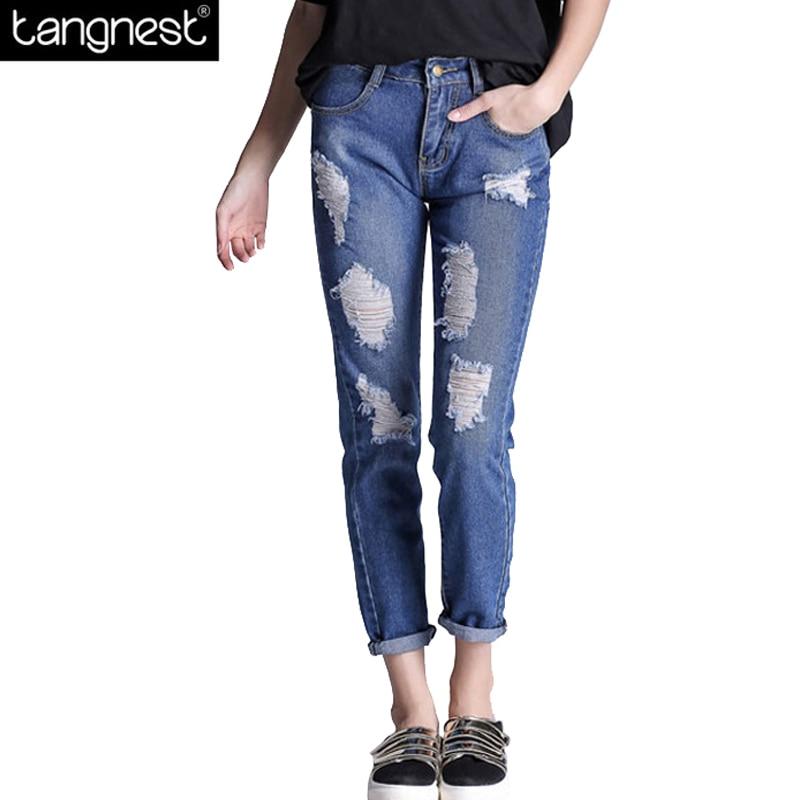 TANGNEST Boyfriend Plus Size Slim Ripped Jeans 2017 Women Ankle Length Denim Pants Vintage Straight Frayed Trousers WKN475