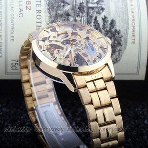 Image 5 - יוקרה סגנון גברים של נשים ליידי יוניסקס אוטומטי מכאני עצמי רוח שעון יד נירוסטה שלד זמן מתנה M103