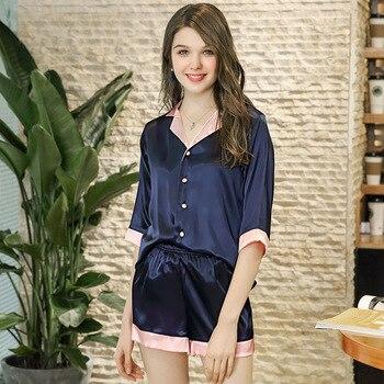 Pajama Set Silk Pajama Sets Shorts Sleeve V-Neck Sleep Lounge Pajama Set Sexy Satin Sleepwear Women Summer Pyjama Sets Nightwear фото