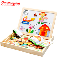 Simingyou Wooden Toys Multifunctional Magnetic Juguetes Educativos Puzzle Drawing Board Kids Toys WDX42
