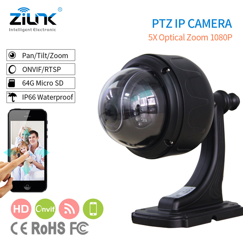 ZILNK IP Camera 1080P HD Outdoor Speed Dome Camera PTZ 5X Zoom Wireless Wifi Network Onvif