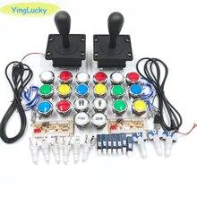 Jugador 2 Arcade DIY Kit de cero retraso USB codificador feliz Joystick 33mm de empuje con LED Botón moneda PC Mame Raspberry pi 1 2 3