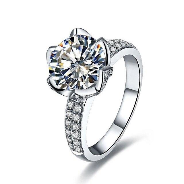 4Ct Test Positive CHARLES & COLVARD WARRANTY Moissanite Engagement Ring 925  Sterling Silver Ring White Gold