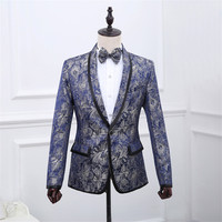 Mens Floral Blazer Stage Costume Men Blazer Masculino Chaqueta Costume Homme Blazer for Men Prom Suits