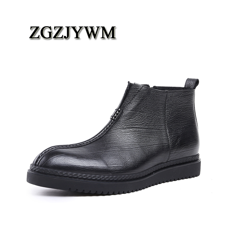 ZGZJYWM High Quality Men Boots Black Slip-On Ankle Rubber Casual Genuine Leather Classic Business Office Formal Boots Men Shoes 2016 new spring 100% real genuine leather formal brand man italian ankle boots men s slip on cowboy rubber shoes gl282