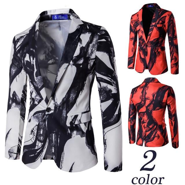 Горячая весна и осень новый Корейский мужской моды случайные костюм печати чернила костюм производительности костюм костюмы