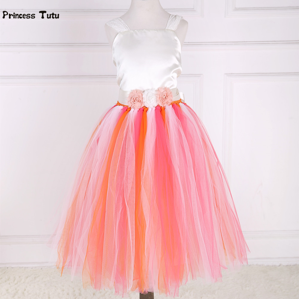 New Flower Girl Tutu Dress Girl Clothes Tulle Birthday Party Princess Dress Kids Pageant Performance Ball Gown Children Dress children girls christmas dress kids tulle new year clothes fancy princess ball gown baby girl xmas party tutu dress costumes