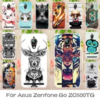 AKABEILA Soft TPU Plastic Painted Cases Cover For Asus ZenFone Go ZC500TG zenfone Go Z00VD GoZ00VD Phone Case Back Covers Shells