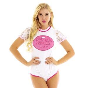 Image 2 - Iiniim yetişkin kadın kısa seksi kasık Clubwear kostüm tek parça Romper tulum Bodysuit Cosplay Ruffled dantel etek