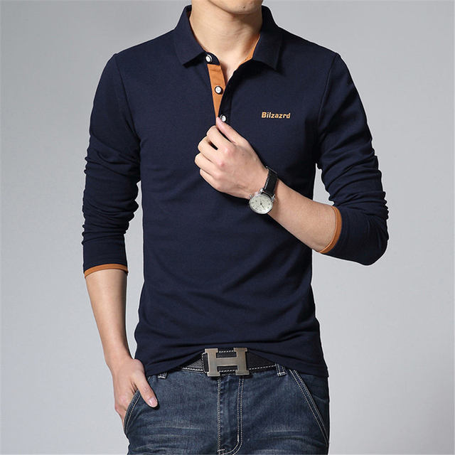 Hot Sale New 2017 Brand Polo Men Shirt Fashion Letter Print Full Sleeve Casual Slim Cotton Solid Polo Shirt Men Plus Size 5XL
