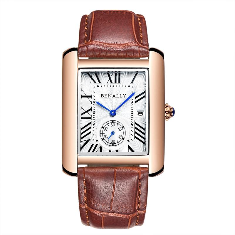 2019 New Fashion Square Men Wristwatch Genuine Leather Luminous Men Wrist Watch Top Brand Luxury Waterproof Male Watch Cock