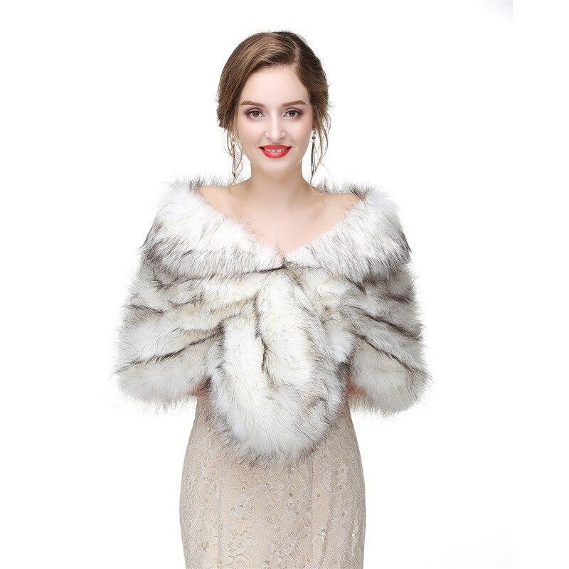 H S BRIDAL Winter 6Colors Wedding Shawl Bridal Bolero Warm Faux Fur Wedding Evening Party Dress