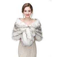 H&S BRIDAL Winter 6Colors Wedding Shawl Bridal Bolero Warm Faux Fur Wedding Evening Party Dress Wraps Fur Shoulder Capes