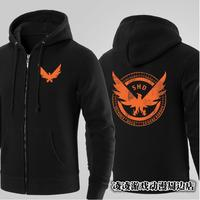 Tom Clancy A Divisão Preto Hoodies Zíper TCTD SHD Logotipo Fleece