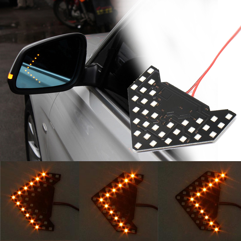 Quaant 1 PCS Car Styling 14 SMD LED Arrow Panel For Car Rear View Mirror Indicator Turn Signal Light Car led Parking White