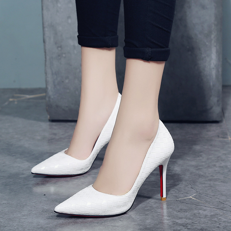 new products 0faa5 6a7e3 kjstyrka 2018 brand designer elegant red bottom pointed toe women's Pumps  fashion office 8cm thin high heels zapatillas mujer