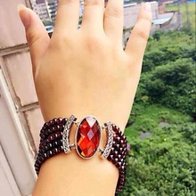 925   silver 5A garnet bracelet female models natural authentic five garnet  chain bracelet woman skincare Garnet Bracelet
