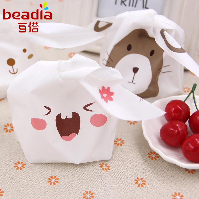 50pcslot Cute Rabbit Ear Cookie Plastic Bags Candy Gift Bags For Biscuits Snack Baking Package And Event Party Supplies