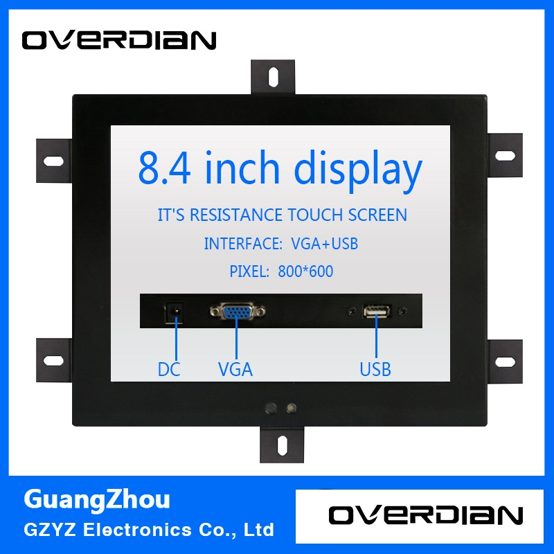 8.4/8inch Resistive/Single Touch Industrial Control Lcd Monitor/Display VGA/USB Interface Metal Shell Fixed Ear Installation 11 6 inch metal shell lcd monitor open frame industrial monitor 1366 768 lcd monitor mount with av bnc vga hdmi usb interface