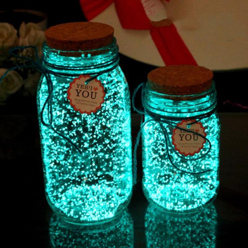Blue Green Fluorescent Glow in the Dark Bright Bottle 10g Luminous Power Night Party Decoration DIY Paint Star Wishing Particles luminous glow sand super bright noctilucent sand diy wishing sand 50g lot glow in the dark for wishing glass bottle