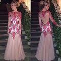 Длинные Рукава Sexy See Through Спинки Русалка Вечернее Платье с 3D Вышивка Цветы Длинные Платья Партии Вечерние Платья
