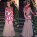 Long Sleeves Sexy See Through  Backless Mermaid Evening Dress with 3D Embroidery Flowers Long Party Dress Formal Gown