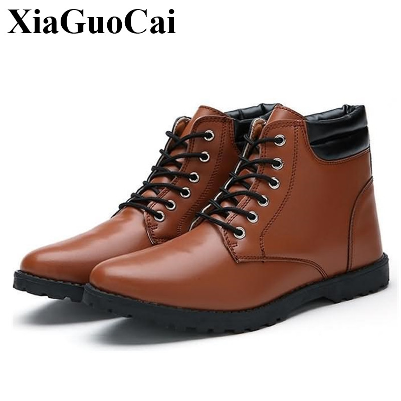 England Style High Top Casual Shoes Men Boots In Ankle Boots Solid Lace-up Flat Shoes Autumn&winter Leather Shoes H439 35