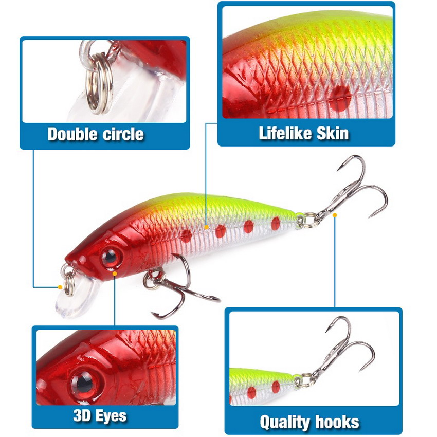 Aorace Minnow Fishing Lure 70mm 8g 3D Eyes Crankbait wobbler Artificial Plastic Hard Bait Fishing Tackle 4