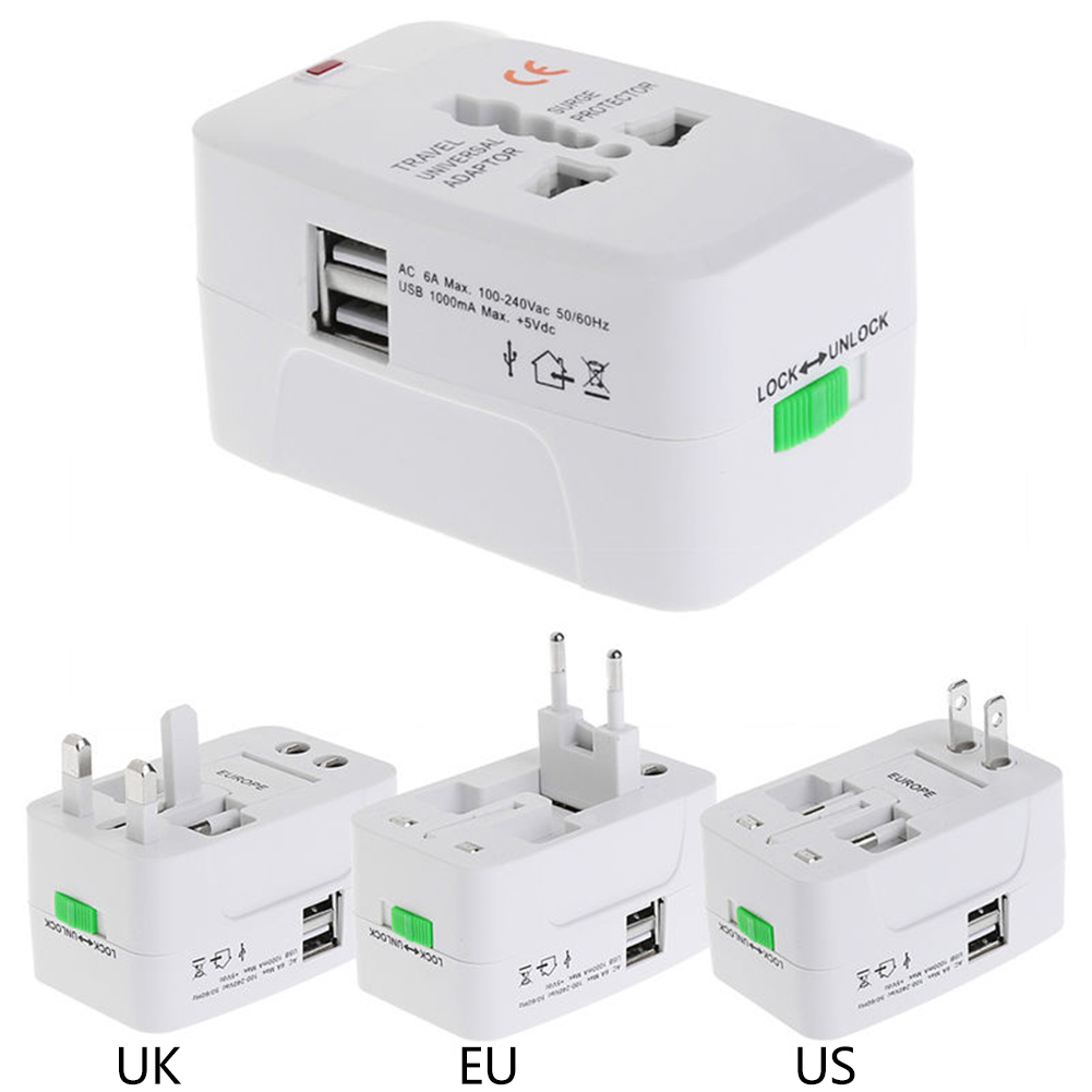 2 USB Port Universal Travel AC Power Charger Adapter Plug Converter International Plug Adaptor Electrical Socket AU UK US EU