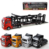 38cm Transport Truck Car Model Diecast Alloy Trailer Speelgoed Auto with DIY Scene Matching Ladder Children Model Toys 4 Colors