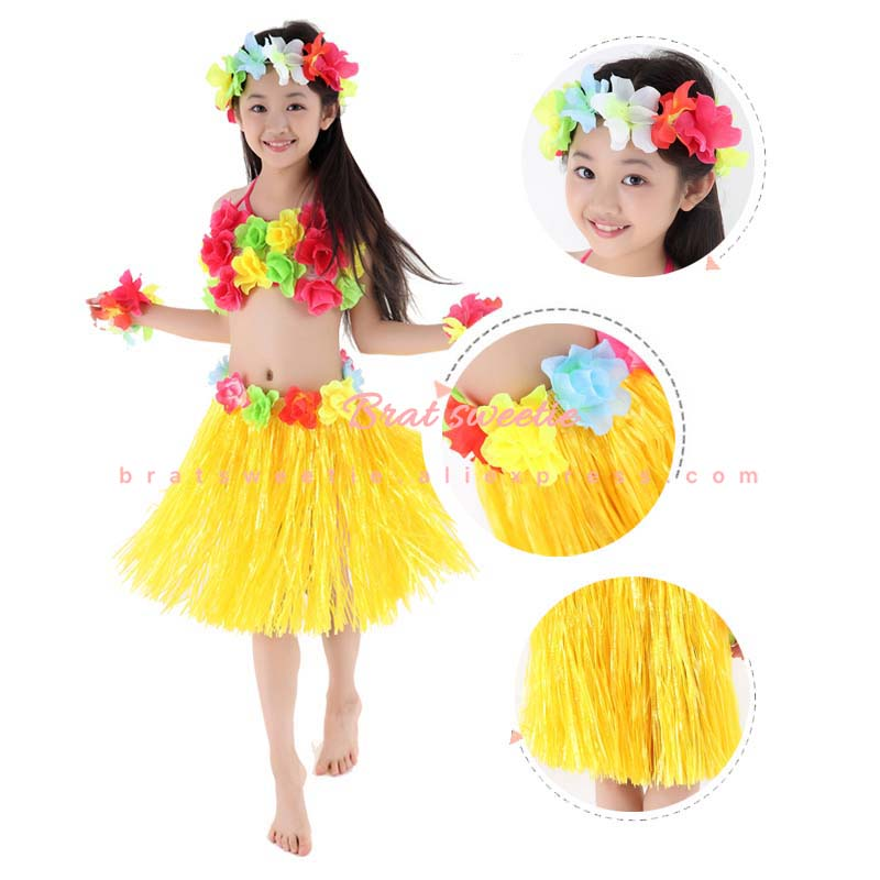 LADIES HAWAIIAN GRASS SKIRTS SUMMER HULA ALOHA PARTY GARLAND FANCY DRESS LEI