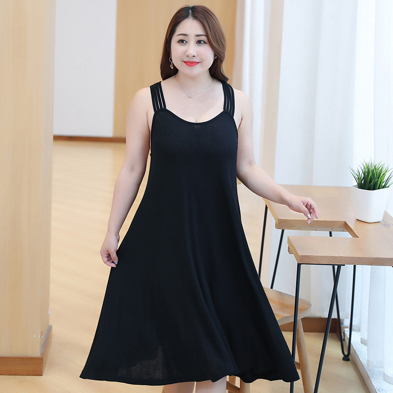 Women's Sleepwear 2019 Korean Version Cotton Long Section Large Size Loose Nightdress Sexy Sling Hollow Nightdress Home Service