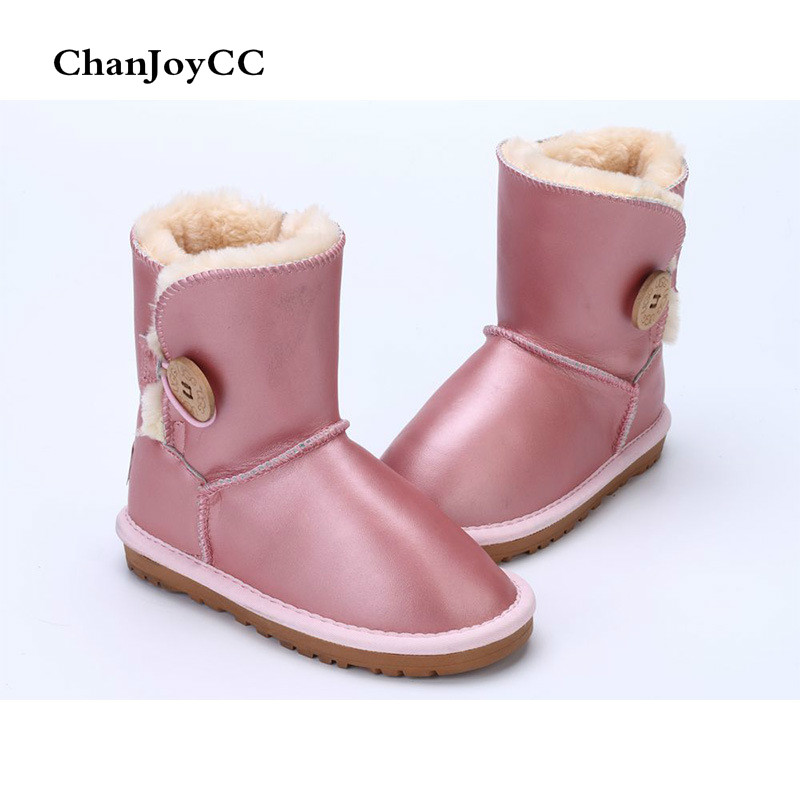 Brand ChanJoyCC Winter Kids Shoes Fashion Snow Boots Warm Baby Boys And Girls Shoes Flat Waterproof Buckle Cotton In the Tube