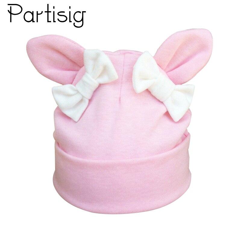 Baby Girl Hat Rabbit Ear Hat For Girls Cotton Bow Knot Children's Cap Toddler Kids Hats Cartoon Cute Baby Hats Bonnet(China)