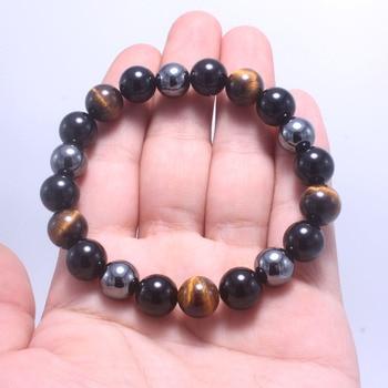 Bracelet Bouddhiste Oeil de Tigre, Onyx noir et Hématite