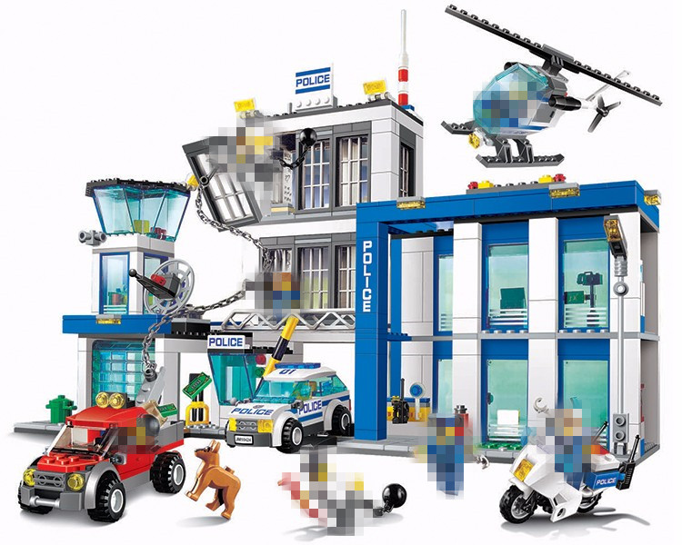 Bela 10424 890pcs City Police Station building blocks Action Figures set helicopter jail cell Compatible