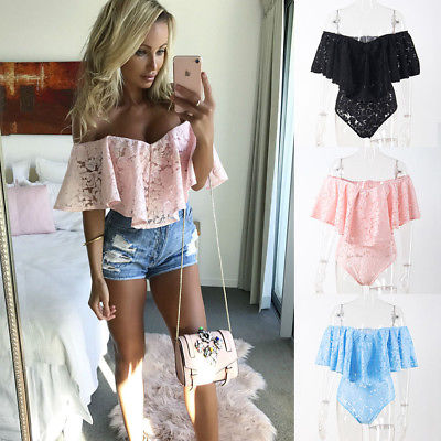 2017 Women's Off Shoulder Bodysuit Ruffles Lace Patchwork Slash Neck   Jumpsuit   Romper Leotard Sexy Tops Black Pink Blue