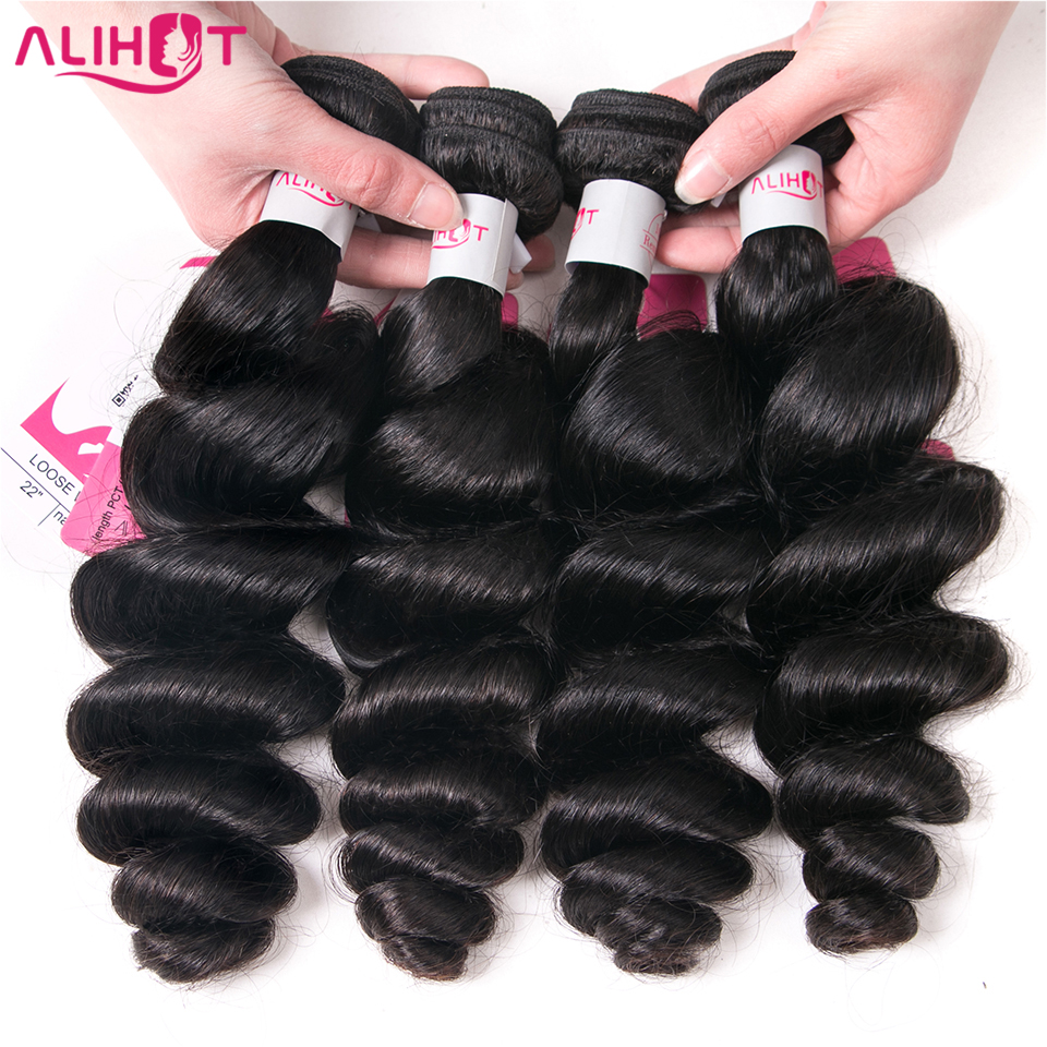 ALI HOT Brazilian Loose Wave Bundles 10-26 Inch Human Hair Weave 4 Bundles Natural Color Can Mixed Length Remy Hair Weaving