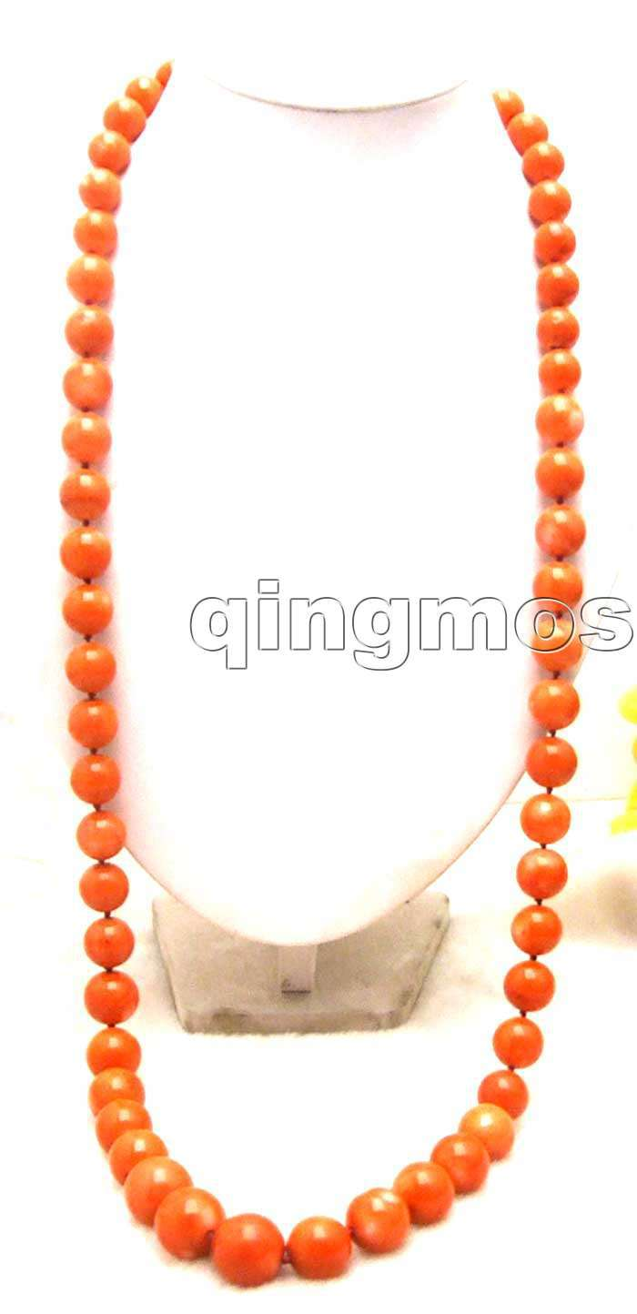 "SALE Super Long 34 /"" 10mm Natural Red slice Coral Necklace nec5400"