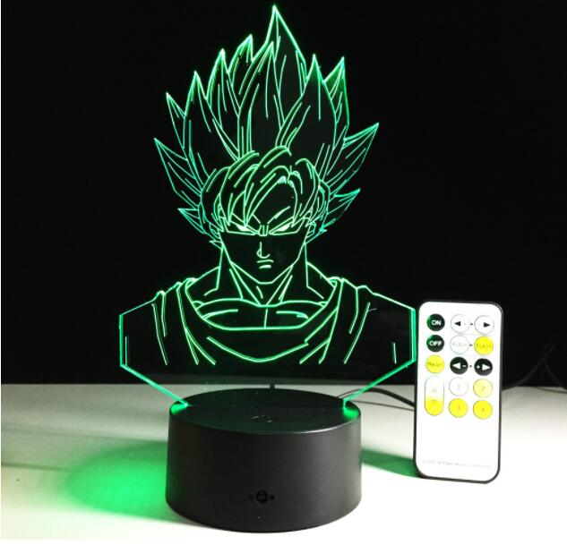 Tobyfancy 7 Color Visual 3D LED Light Acrylic Dragon Ball Son Goku Figure Table Lamp With Remote