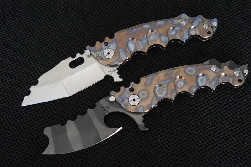 Trskt flipper faca de acampamento dobrável tc4 titânio lidar com cerâmica rolamento esferas lâmina cetim facas caça sobrevivência ferramenta edc