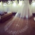 Véus de noiva Branco Tulle Applique 3 metros véu de noiva véus de noiva longos acessórios de noiva sobre o vestido de casamento do laço nupcial véu