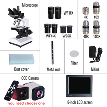 Professional Lab biological HD trinocular microscope zoom 2500X  + USB HDMI VGA CVBS electronic digital CCD Camera + 8-inch LCD