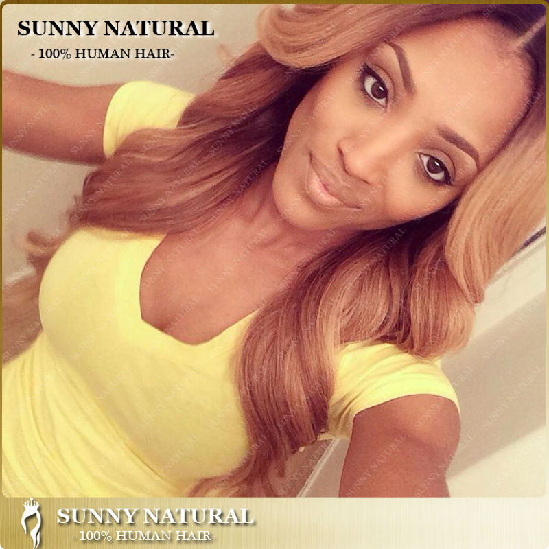 Honey Blonde With Dark Roots Full Lace Wigs With Straps Glueless