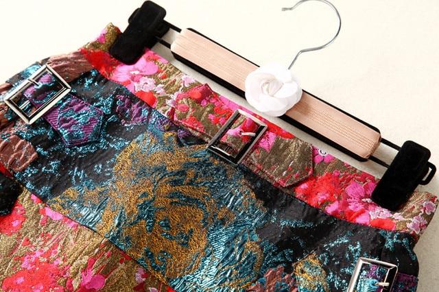 Falda mini vintage jacquard cristal elegante 5