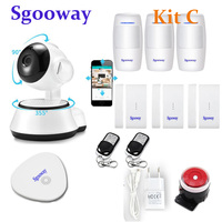 Sgooway Long distance Alarm Systems Security WIFI IP Camera Security System Camera Wireless Home Alarm System With Sensor Alarm