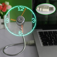 New LED USB Fan Clock Mini Flexible Time With LED Light Cool Gadget QJY99