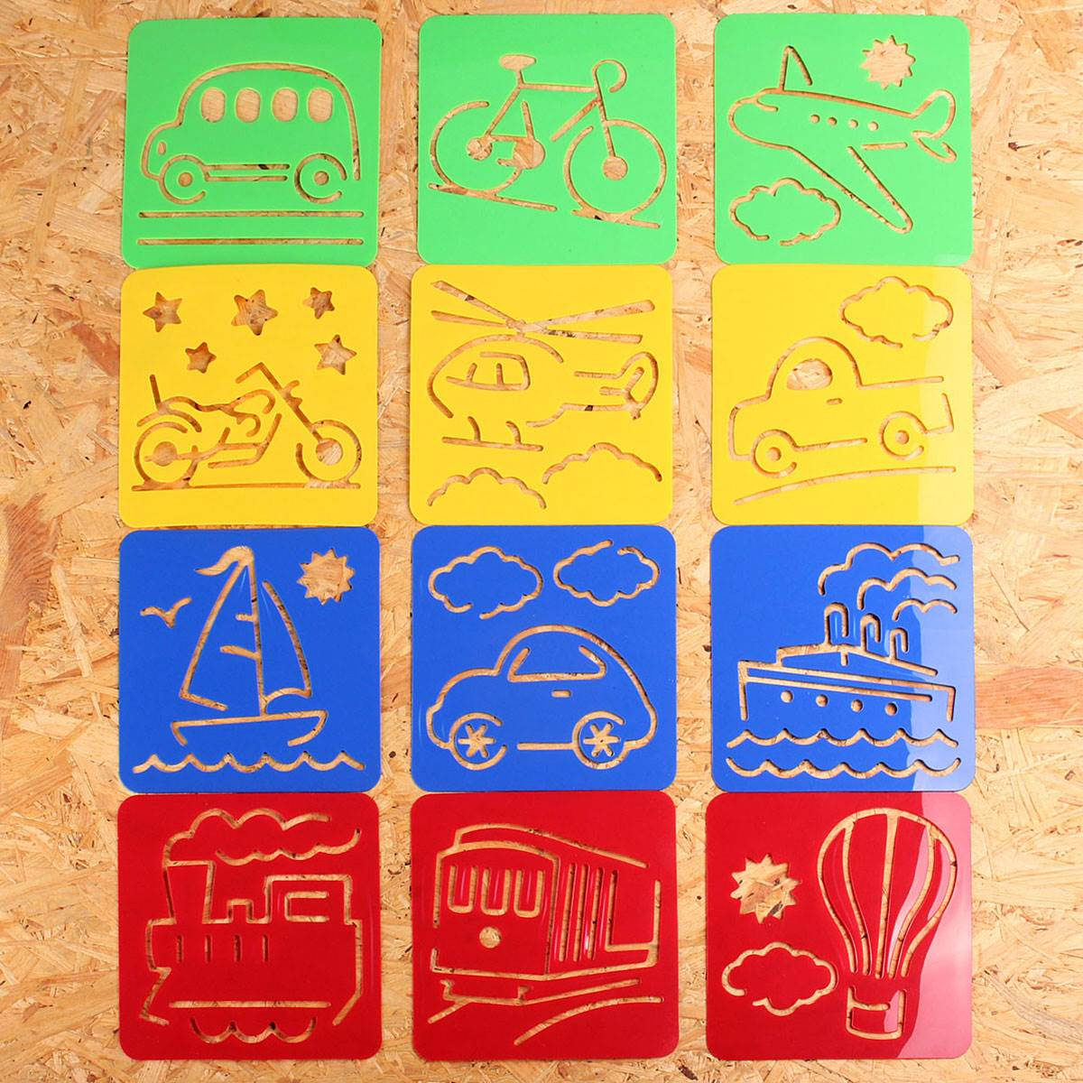 12pcs children favor transport shaped plastic oppssed painting tool learning drawing template stencil toy best gift for kids - Free Kids Stencils