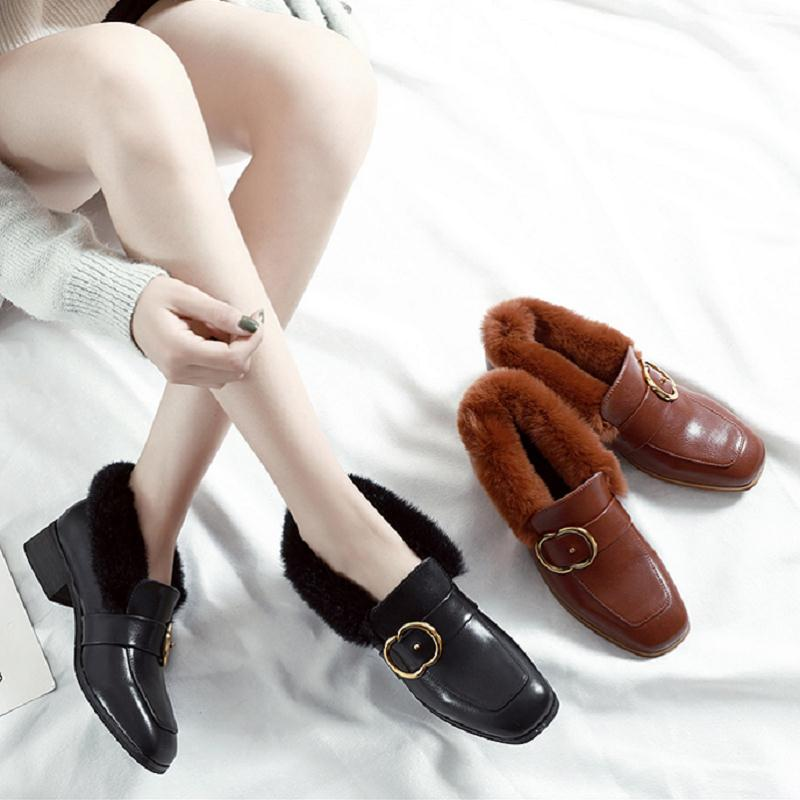 8281918df3e9 Luxe Winter Chaussures Mode Femmes De warm Occasionnels Martin Pour  Appartements Cuir brown 2018 Mycoron Femme ...